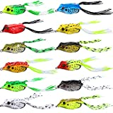 12 Pieces Frog Lure Ray Soft Frog Topwater Fishing Crank Bait Lures Artificial Soft Bait Tube Bait with 2 Hooks for Predatory Fish, Perch Yellow Bass Corneal Pike Barracuda Musk Fish Trout, 5 cm 8 g