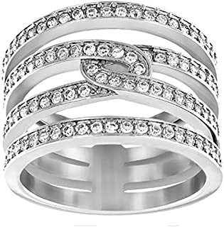 Swarovski Creativity Rhodium Plated Crystal Band Ring - Size 18.15 mm