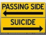 Set of 2: Passing Side and Suicide Stickers (Safety Truck Driver semi Wide Turn)