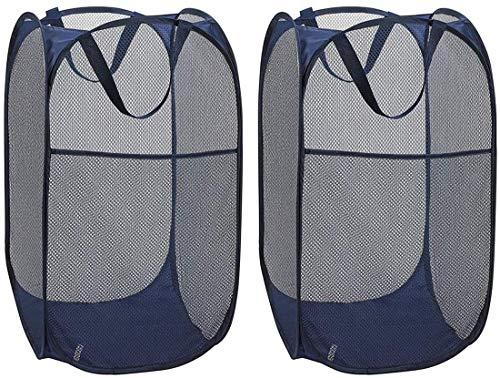 Delgeo Cestos para Lavandería Plegables 【2 Pack, 120L】 Pop-Up Cesta Malla Transpirable Alta Capacidad Cesta Malla para Ropa Independiente con Asas Extendidas - Azul