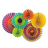 Sunbeauty Paquete de 6 abanicos de Papel Multicolor 21cm 31cm 42cm decoración para celebración Fiesta cumpleaños Boda