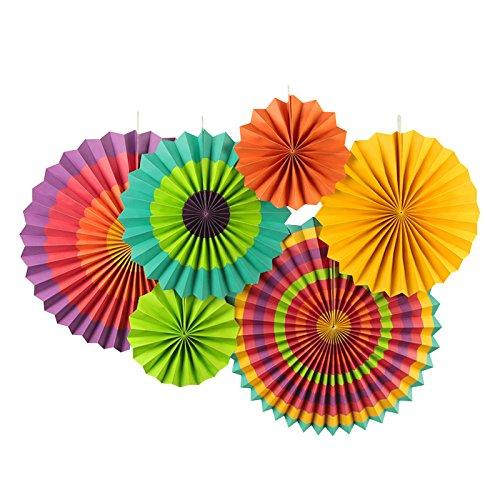 Sunbeauty Paquete de 6 abanicos de Papel Multicolor 21cm 31cm 42cm decoración...