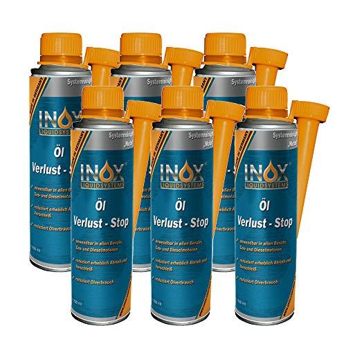 INOX® Öl Verlust Stop Additiv, 6 x 250ml - Öl-Zusatz verhindert Ölleck im Motor, für alle KFZ Motoren