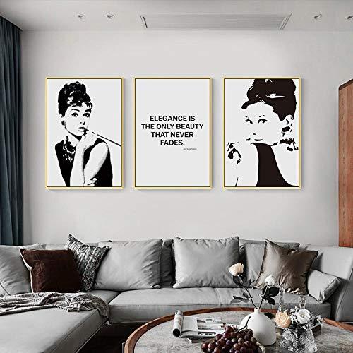 AKLIGSD Lienzo de Pintura Decorativa Audrey Hepburn Blanco Y Negro para la Sala de Estar Dormitorio Cocina,50cm x 70cm x 3pcs(con Marco)