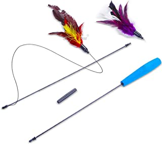 SunGrow Feather Wand Cat Toy, 40-inches (Extended Wand Length) 33-inches (String Length), 2 Purple and Red Feathers, Soft Foam Handle, Interactive, Mental Exerciser and Brain Teaser