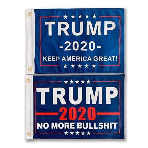SOULBUTY No More Bull Trump Flag 12x18, Trump 2020 Keep America Great Flag 12x18, True Two-Sided, Three Layers