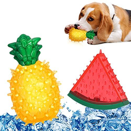 VavoPaw 2 PZS Juguetes Flotables Sonoros para Perros, Juego Interractivo Congelable Enfriamiento Verano Limpieza Dientes Resistente a Mordeduras para Perritos Cachorros, Sandía + Piña