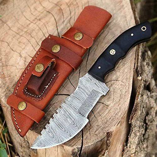 Handmade Tracker Knife Damascus Knife for Hunting Camping - 10 Inch Damascus Steel Hunting Tracker Knife with Horizontal Carry Sheath - Fixed Blade Survival tactical full tang Bushcraft Knife with micarta Handle