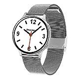 Yumanluo Smartwatch,Reloj Elegante de la Llamada de Bluetooth, Pulsera-Plata B de los Deportes de la vigilancia de la Salud,Reloj Inteligente con Pulsómetro