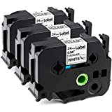 Label KINGDOM Compatible Label Tape Replacement for Brother P-Touch TZe-FX251 TZ-FX251 Flexible-ID Laminated Tape, 24mm 0.94 Inch Black on White, Compatible with PT-D600 PT-2730 Label Maker, 3-Pack