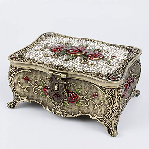 joyeros,Joyero de mariposa retro con incrustaciones de diamantes de estilo europeo, caja de almacenamiento de joyería de espejo de alta gama con cerradura-rose