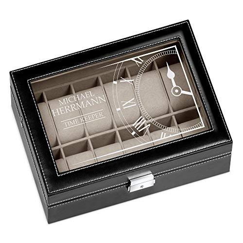 Murrano Uhrenbox mit Gravur für 12 Uhren - 30x20x8cm - Uhrenkasten aus Kunstleder - Schwarz - Geschenk für Männer - Time Keeper