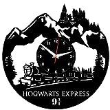 Hogwarts Express Wanduhr Vinyl Schallplatte Retro-Uhr groß Uhren Style Raum Home Dekorationen Tolles Geschenk Wanduhr Hogwarts Express
