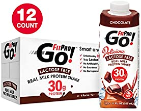 FitPro Go! Real Milk Protein Shake, Chocolate, 11 Ounce (Pack of 12 - 3, 4 Packs)