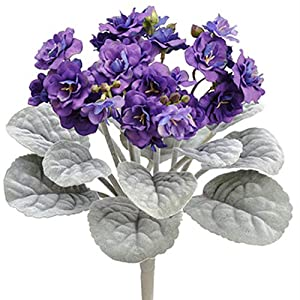 12″ African Violet Silk Flower Bush -Purple (Pack of 24)