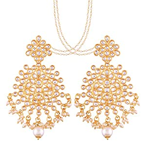 I Jewels Traditional Gold Plated Big Earrings Encased With Faux Kundans & Attached With Hair Chain for Women/Girls (E2497W)