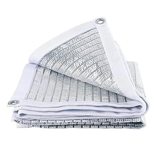 Red de Sombra de Papel de Aluminio con Ojales, Vela de sombrilla de Patio Plateada, Lona de Malla de Sombra de jardín al Aire Libre, para balcón/Patio/Invernadero (tamaño: 2m × 6m / 6.6ft × 20ft)