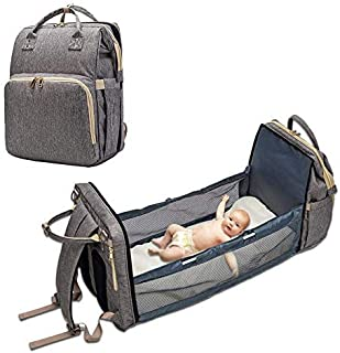 My Pick ae Diaper Bag | Foldable Travel Bassinet | 3-in-1 Diaper Backpack Portable Collapsible Bassinet | Travel Changing ...