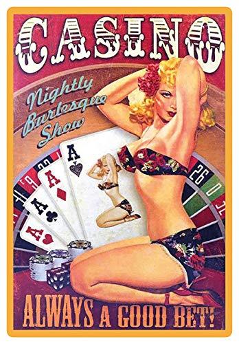 Blechschild 20x30cm gewölbt Casino sexy Pinup Poker Black Jack Deko Geschenk Schild pin up