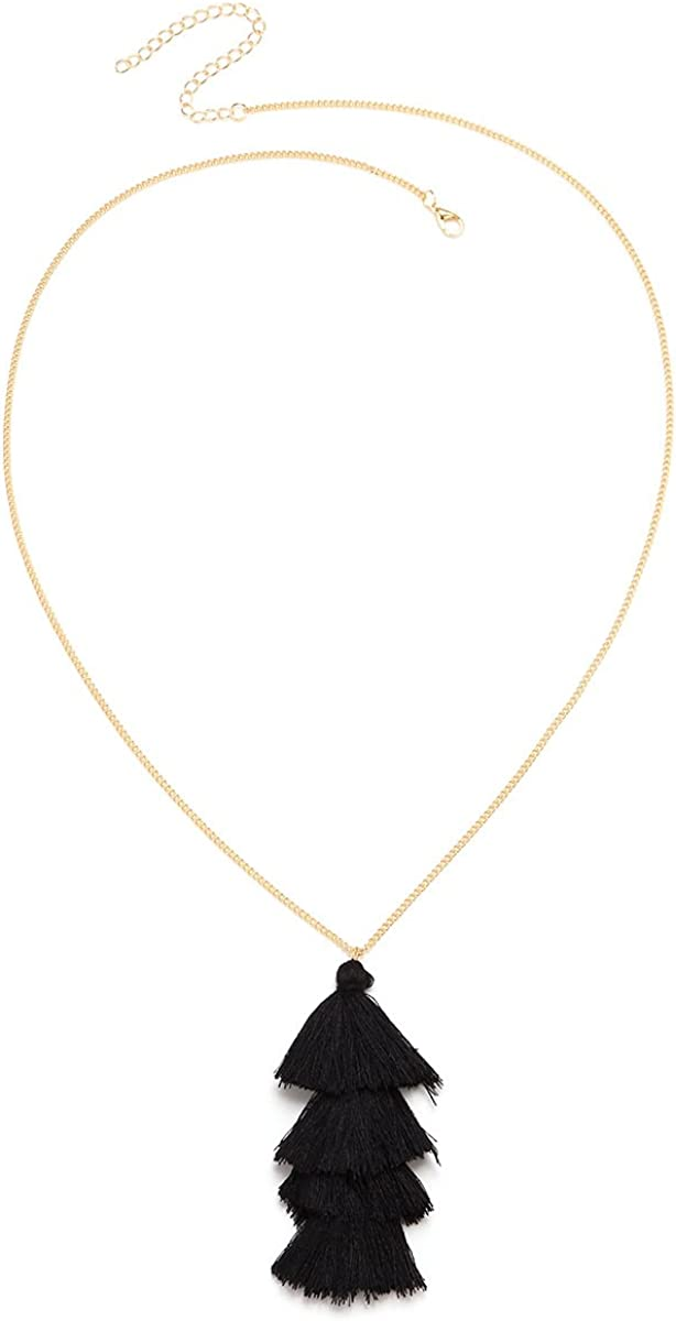 YOOE Bohemia Multilayer Tassel Y Necklace. Silky Strand Thread Fringe Pendant Necklace, Layered Tassel Sweater Chain Necklace
