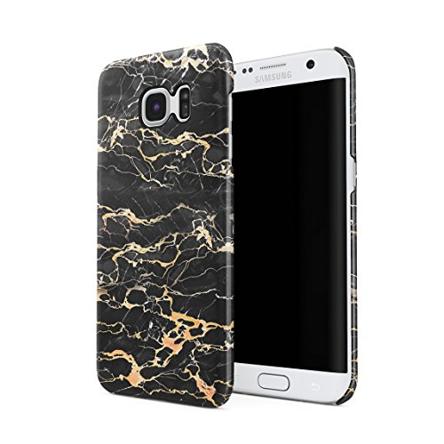 Black Onyx & Gold Strips Marble Print Hard Thin Plastic Phone Case Cover For Samsung Galaxy S7 Edge