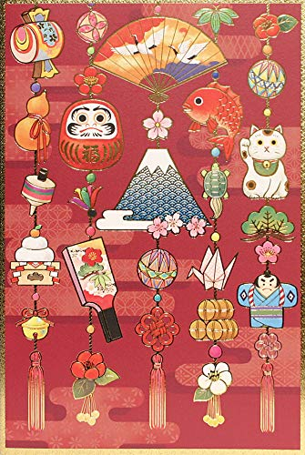 和風クリスマスカード お正月つるし飾り 縁起物 5枚セット