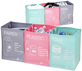 Ribens Recycle Bag Separate Recycle Bin Waterproof Waste Baskets Compartment Container Separate Recycling Bins Multipurpos...
