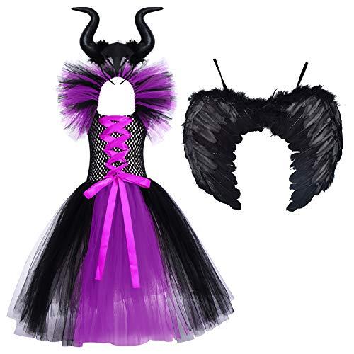FYMNSI Disfraz de Nia Malfica Reina Malvada Maleficent Halloween Costume Tutu Vestido de Bruja con Diadema de Cuernos Alas de Angel Conjunto Carnaval Fiesta de Cosplay Disfraces Morado 6-7 aos