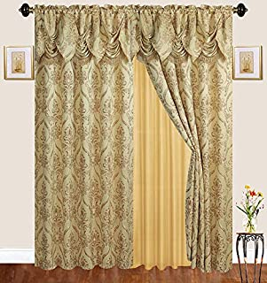 Elegant Home Window Two Panel Curtains Drapes All-in-One Set with Valance & Sheer for Living Room, Bedroom, Dining Room, or Any Other Window # 4399 (63