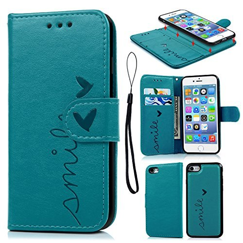Geniric iPhone SE/iPhone 7/iPhone 8 Hülle Leder Flip (iPhone 7, Blau-Heart)