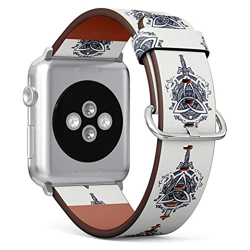 (Celtic Dragons and Sword, Symbol of The Viking) Patterned Leather Wristband Strap for Apple Watch Series 4/3/2/1 gen,Replacement for iWatch 42mm / 44mm Bands