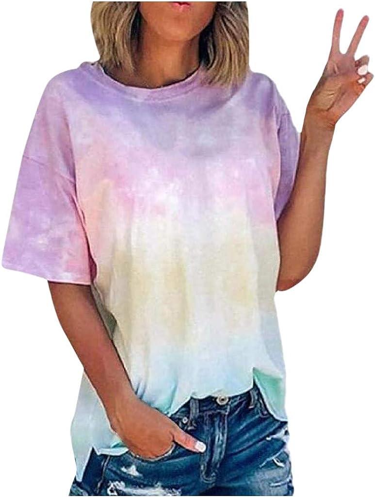 FABIURT Short Sleeve Shirts for Women Plus Size Women's Short Sleeve V-Neck Shirts Loose Casual Tee T-Shirt Pink