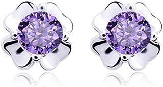 Demana 925 Flowers Silver Earrings Small Fresh Diamonds Four Leaves Flowers Sweet Delicate White Fungus Jewelry Gift