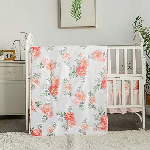 La Premura Watercolor Floral Nursery Crib Bedding Set for Baby Girls, 3 Piece Standard Size Crib Bedding Sets, Pastel Pink