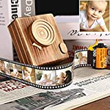 Personalized Multiphoto Camera Film Roll Photo Frame with Wooden Camera Box Decor , Retro Colorful Collage Frame Filmstrip Album Romantic Gift for Christmas Lovers Friends Family Baby