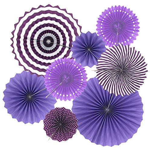 Benvo Party Hanging Fans Purple and Lavender Round Dot Stripes Tissue Paper Flower Fan Party Decorations for Birthday Wedding Bridal Showers Baby Showers Graduation Events Party Accessories, Set of 8