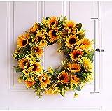 U'Artlines 40cm Natürliche Girlanden Haustür Kränze, Künstliche Sonnenblume Hängen Kranz für Home Party Indoor Outdoor Fenster Wand Hochzeit Dekoration(40 cm Sonnenblume) - 2