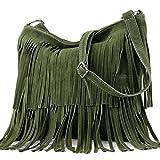 Ital. Borsa a tracolla in pelle Frans borsa tracolla donna borsa in pelle scamosciata T125, Colore:esercito verde