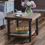 Coffee Table Easy Assembly Hillside Rustic Natural End Table with Storage Shelf for Living Room (22')
