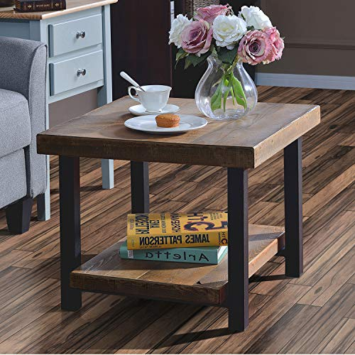 Coffee Table Easy Assembly Hillside Rustic Natural End Table with Storage Shelf...