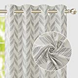 Vintage Jacquard Curtains 54 Inches Long for Bedroom Living Room Thermal Insulated Grommet Printed Curtain Drapes Primitive Linen Textured Burlap Effect Window Drapes 2 Panel - Dark Grey