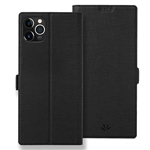 Astart iPhone 12 Mini Lederhülle PU Leder Klapphülle mit 2 Kartenfächer Magnetverschluss Standfunktion Full Cover Silikon Stoßfest Handyhülle für iPhone 12 Mini Schutzhülle Brieftasche (Black)