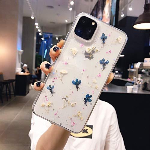 Anceky Funda para teléfono móvil compatible con iPhone SE 2020, iPhone 8/7, carcasa de cristal de gel, transparente, fina, carcasa transparente de silicona transparente (Blumen GT08)