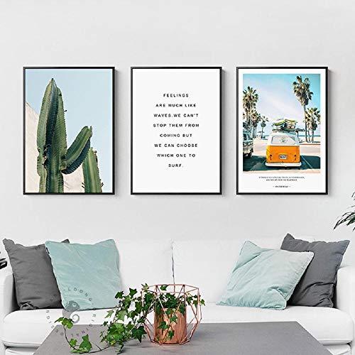 Carteles e impresiones de viaje de cactus de autobús de playa de piña de estilo nórdico lienzo para sala de estar dormitorio decoración del hogar 51x71cmx3 sin marco