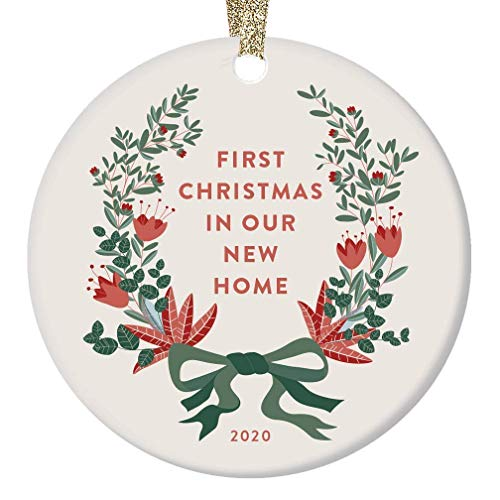 None-brands Monogram Ornament Wreath Ornament Xmas Tree Ornament Custom 2020 Ornament New Home2020 Traditional Homeowners House Warming for Couple Housewarming