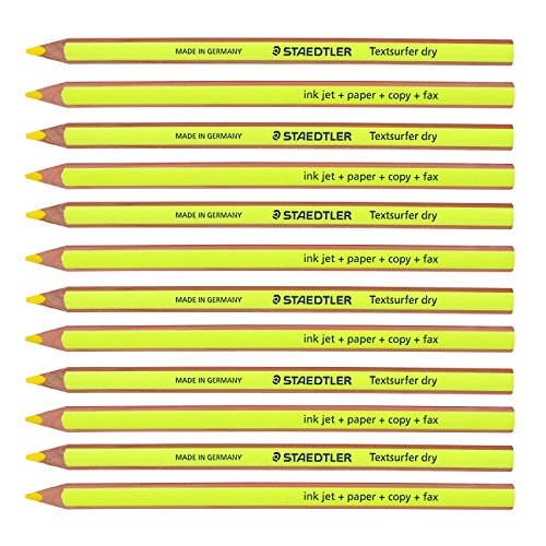 Staedtler Textsurfer Dry Highlighter Pencil 128 64 Drawing for Writing Sketching Inkjet,paper,copy,fax (Pack of 12 Yellow) Photo #4