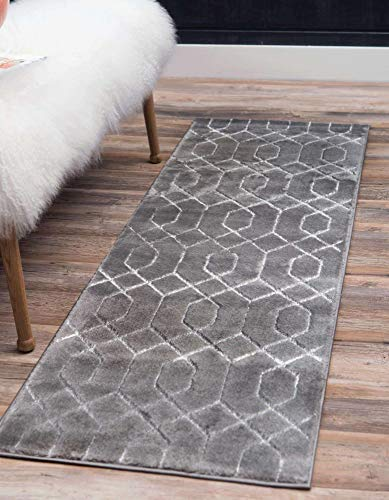 Unique Loom Marilyn Monroe Glam Collection Textured Geometric Trellis Gray Silver Runner Rug (2' 0 x 6' 0)