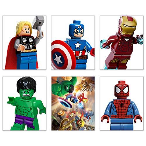 BigWigPrints Lego Mini Figuras Impresas, Juego de 6 Fotos (8 x 10) Póster – Capitán América Hulk Iron Man Spiderman Thor