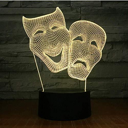 Comédie Maske für Schlafzimmer, Dekoration, bunt, kreativ, Nachtlicht, mit Fernbedienung, Geschenk, LED, 3D-Lampe, GIF