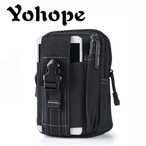 Yohope Sports de plein air Molle EDC Camping Randonnée Waistpacks Universal Multipurpose Capacité de transport kit d'accessoires avec passants de ceinture Sac banane, noir
